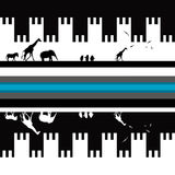 Seamless Greek Pattern with animals. In black and white Royalty Free Stock Images