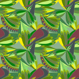 Seamless green abstract pattern with birds and leaves. Vector picture. Stock Photography
