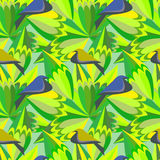 Seamless green abstract pattern with birds and leaves. Vector picture. Royalty Free Stock Photography