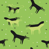 Seamless green background with the foxes Stock Photography