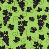 Seamless green background with leaves and grapes. Seamless green background with leaves and berries of grapes vector illustration