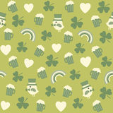 Seamless green background pattern for st patricks. Seamless background pattern with cute irish icons on green for St Patricks Day Royalty Free Stock Photo