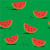 Seamless green background with red watermelon Stock Image