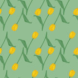 Seamless green background with yellow tulips Stock Photography