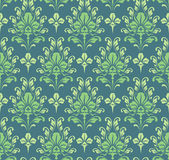 Seamless green baroque wallpaper Stock Photo