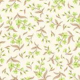 Seamless green and beige pattern with flowers. Vector illustration. Royalty Free Stock Photo