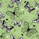 Seamless green-black-white pattern Royalty Free Stock Photos