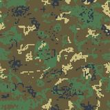 Seamless green camouflage of pixel pattern. For army, hunting and other use. Vector illustration Stock Photo