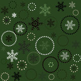 Seamless green christmas background. With snowflakes Royalty Free Stock Photo