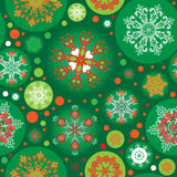 Seamless green christmas pattern Royalty Free Stock Images