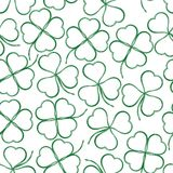 Seamless, Green Clover Contours Royalty Free Stock Photography