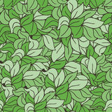 Seamless green doodle vector pattern with leaves or grass Stock Image