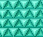 Seamless green ethno pattern with 3D geometric shapes. Vector texture for your design Royalty Free Stock Photography