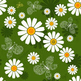 Seamless Green Floral Pattern Stock Photo