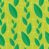 Seamless green floral pattern with leafs Stock Photo