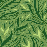 Seamless green floral pattern with leafs Stock Photography