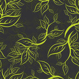 Seamless green floral pattern with leafs Royalty Free Stock Photography