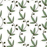 Seamless Green Floral Pattern With Olive Branches Royalty Free Stock Image