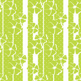 Seamless green floral pattern on striped Stock Photo