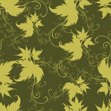 Seamless green floral pattern with twirled leafs ( Royalty Free Stock Photography