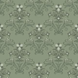 Seamless green floral wallpaper Stock Photo