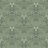 Seamless green floral wallpaper Stock Photo