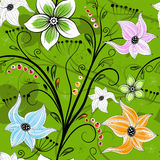 Seamless green floral wallpaper Stock Photos