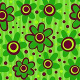 Seamless Green Flower Pattern Stock Images