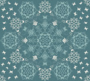 Seamless green flowers and butterflies pattern stock illustration