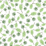 Seamless green leaf pattern, foliage vector background Royalty Free Stock Photography