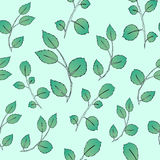 Seamless green leaf pattern. Vector illustration Royalty Free Stock Photos