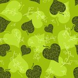 Seamless green leaves pattern. Stock Image