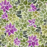 Seamless green leaves pattern Stock Photos