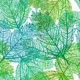 Seamless green leaves pattern. Vector, EPS 10 Stock Image