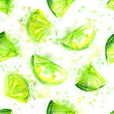 Seamless green lime background with splashes and Royalty Free Stock Photo