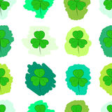 Seamless green painted shamrocks Stock Photos