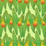 Seamless green pattern. With palm leaves and pineapples Stock Photography