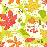 Seamless green pattern with autumn leaves Stock Photo