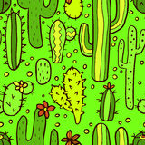Seamless green pattern with cactus Stock Image