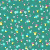 Seamless Green Pattern with Christmas Decorations Royalty Free Stock Image