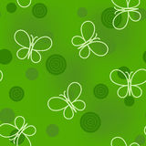 Seamless green pattern with circles and butterflies Royalty Free Stock Photos