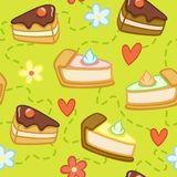 Seamless green pattern with cute cakes, flowers and hearts. Vector illustration stock illustration
