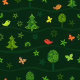 Seamless green pattern with fairy forest on hills. Vector design for any decoration. Creative concept royalty free illustration