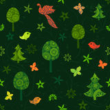 Seamless green pattern with fairy trees, butterflies and birds Royalty Free Stock Images
