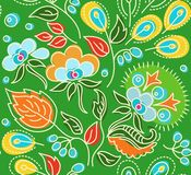Seamless green pattern with flowers, blue berries, orange seeds. Royalty Free Stock Photography