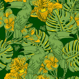 Seamless green pattern with flowers and Toucan Royalty Free Stock Photography