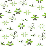 Seamless green pattern with flowers Royalty Free Stock Images