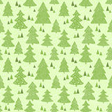 Seamless green pattern with hand drawn christmas Stock Photos