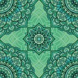 Seamless green pattern. Seamless green ornamental background. Template for carpet, shawl, textile, cloth. Stylized turquoise mosaic. Filigree oriental pattern Royalty Free Stock Photo