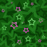 Seamless green pattern with stars Royalty Free Stock Image